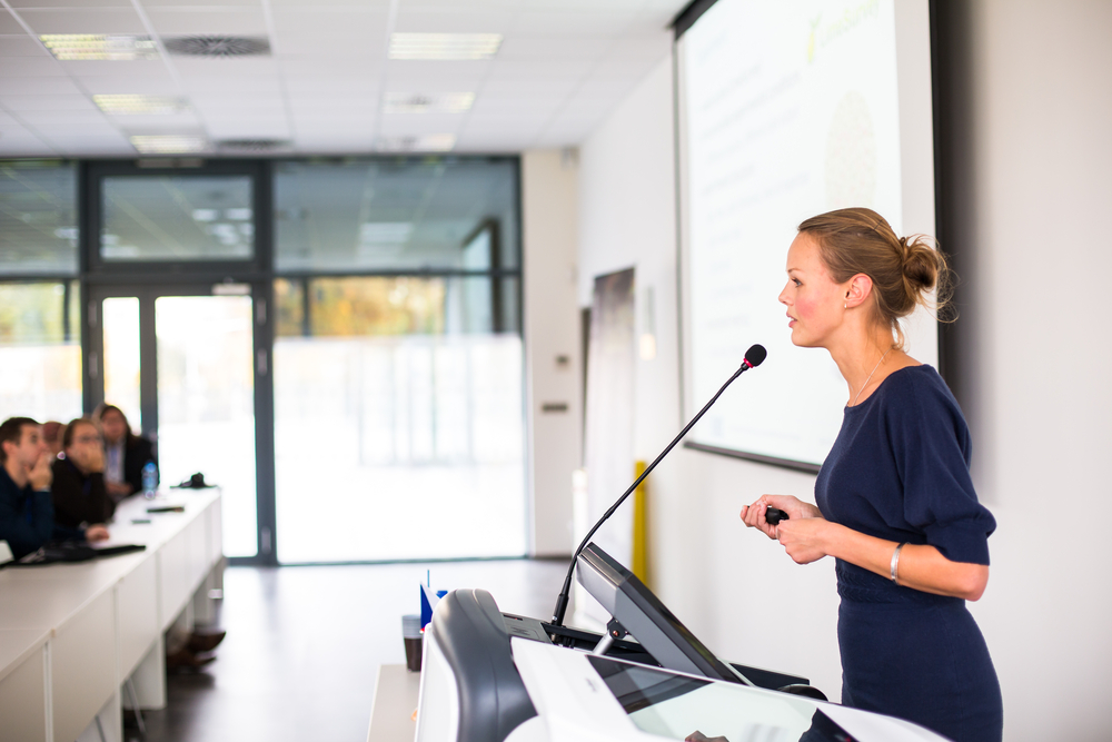 Woman giving a talk