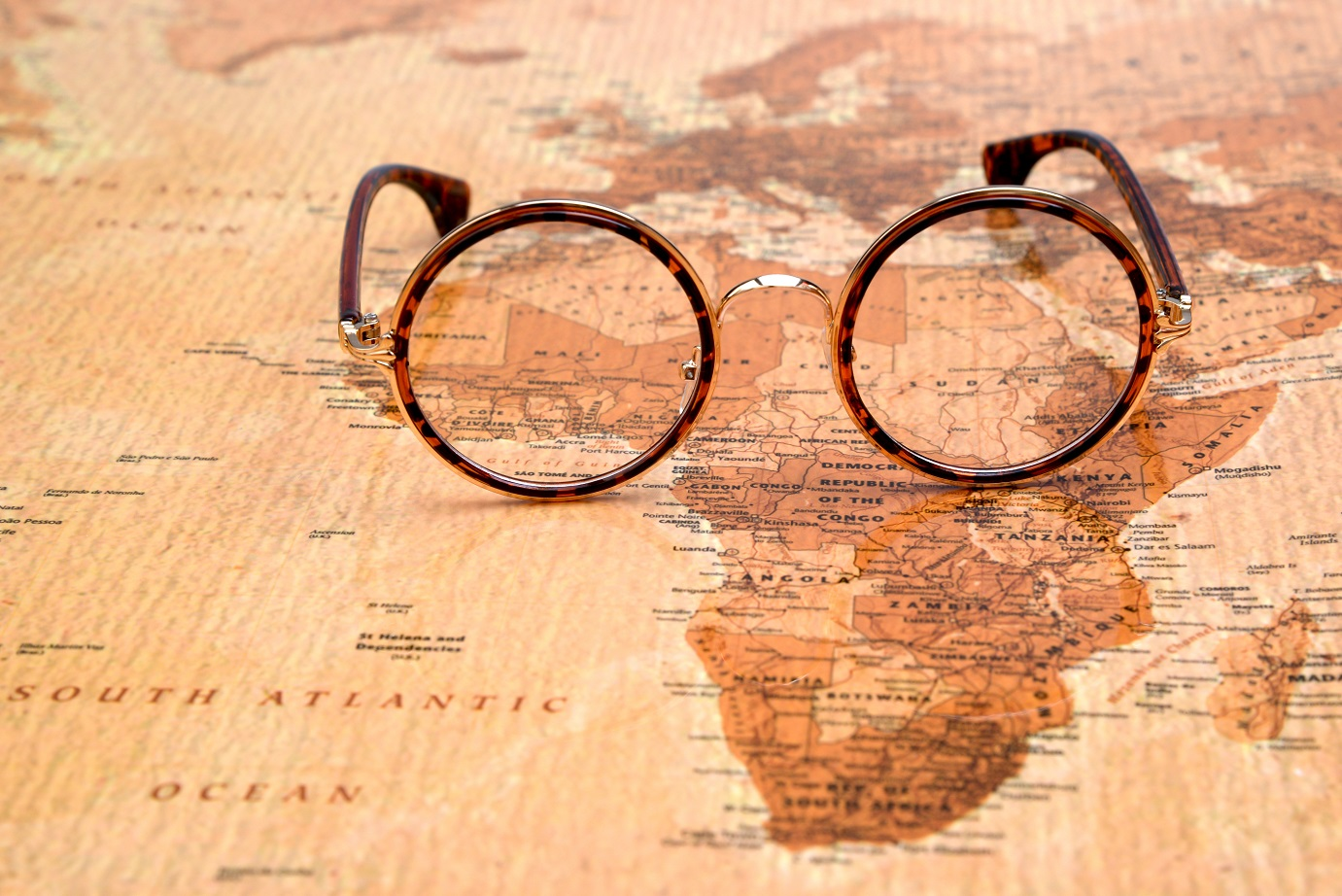 Glasses on a map of Africa
