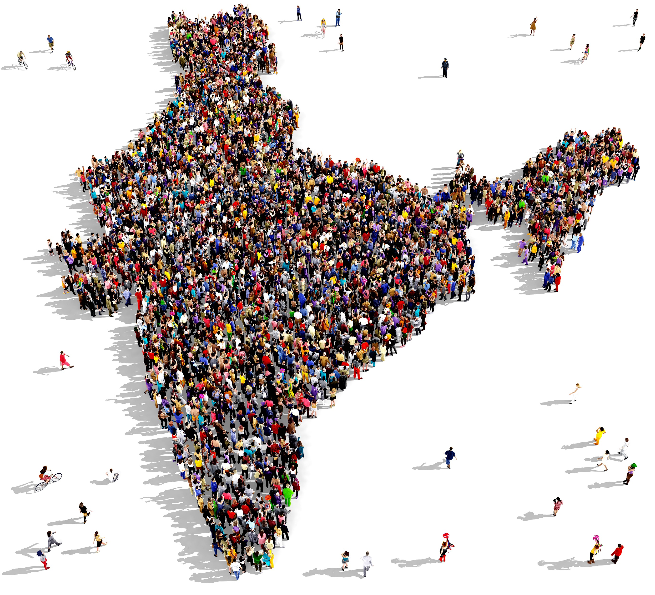 Map of India made with hundreds of people
