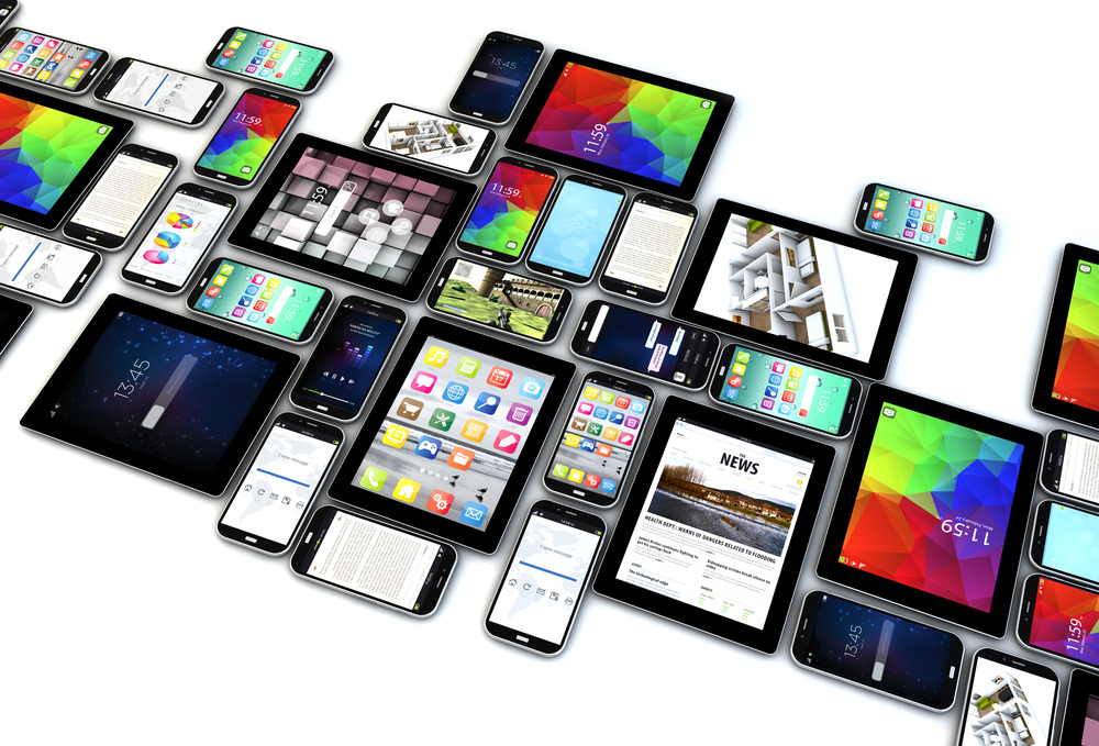 Group of smartphones and tablets