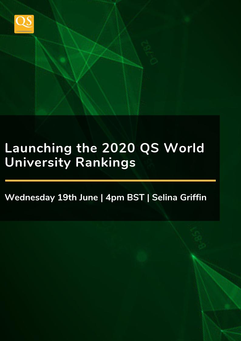 4Pm Bst launching the 2020 world university rankings