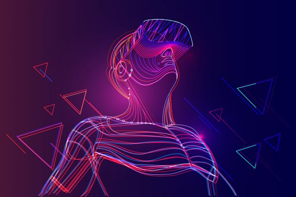 Man wearing virtual reality headset. Abstract vr world with neon lines